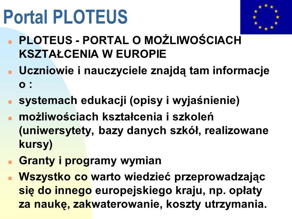 Portal PLOTEUS n PLOTEUS - PORTAL O MOŻLIWOŚCIACH KSZTAŁCENIA W EUROPIE n Uczniowie i nauczyciele znajdą tam informacje o : n systemach edukacji (opis
