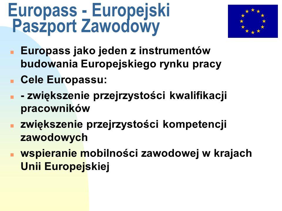 Europass - Europejski Paszport Zawodowy n Europass jako jeden z instrumentów budowania Europejskiego rynku pracy n Cele Europassu: n - zwiększenie prz