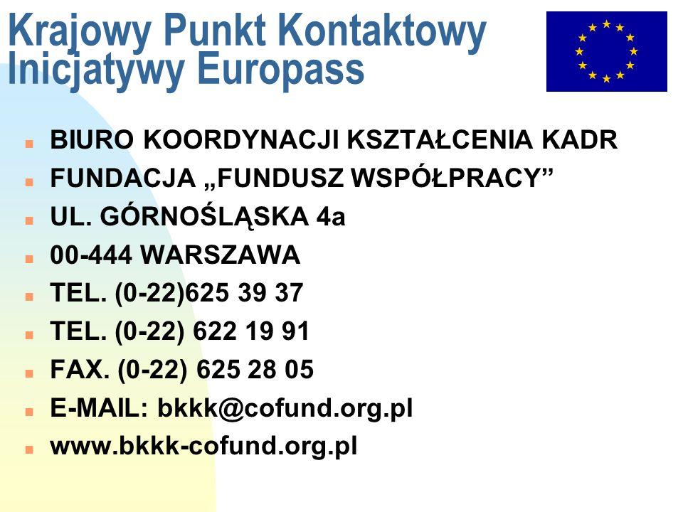 Krajowy Punkt Kontaktowy Inicjatywy Europass n BIURO KOORDYNACJI KSZTAŁCENIA KADR n FUNDACJA FUNDUSZ WSPÓŁPRACY n UL. GÓRNOŚLĄSKA 4a n 00-444 WARSZAWA