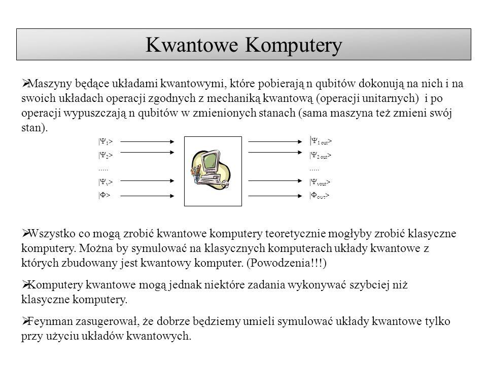 Algorytmy Kwantowe Algorytm Deutsha (1985) – pierwszy algorytm kwantowy.