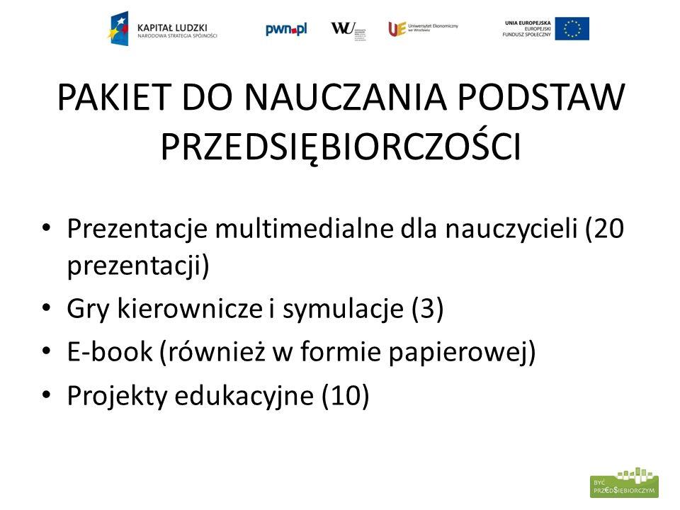 PAKIET DO NAUCZANIA PODSTAW PRZEDSIĘBIORCZOŚCI Prezentacje multimedialne dla nauczycieli (20 prezentacji) Gry kierownicze i symulacje (3) E-book (równ
