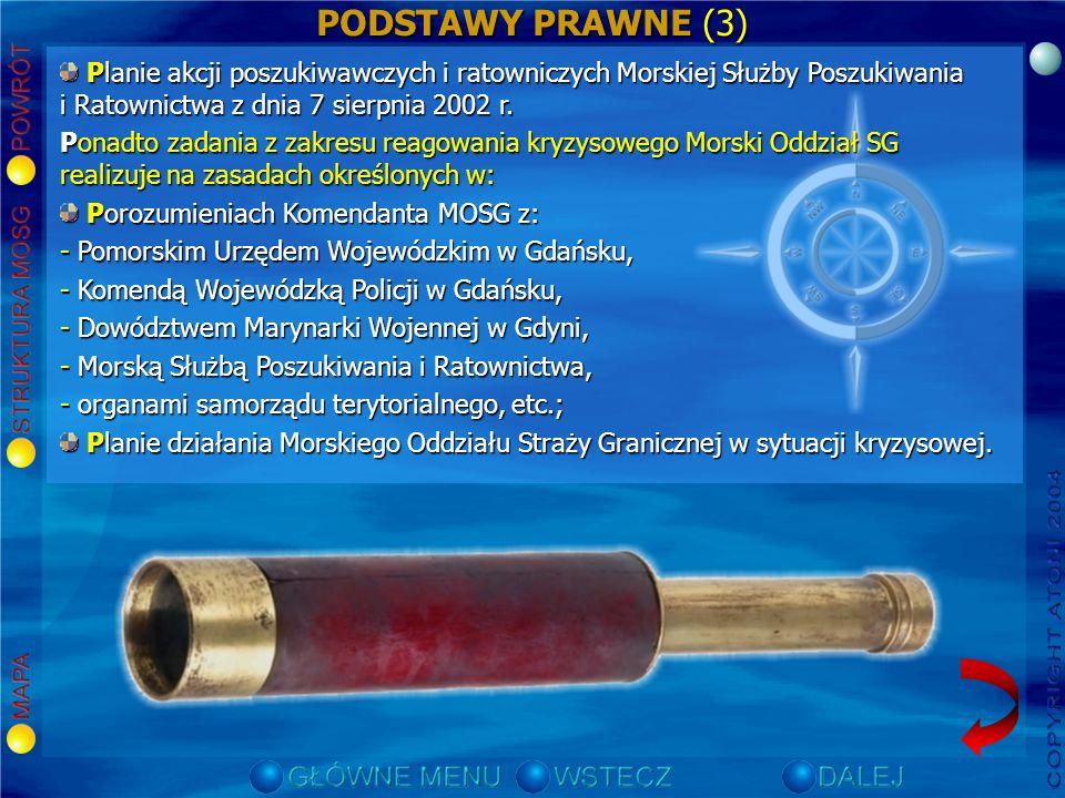 PODSTAWY PRAWNE (2) Porozumieniu Komendanta Głównego Straży Granicznej z Dowódcą Marynarki Wojennej z dnia 17 lutego 1994 r. w sprawie szczegółowej or