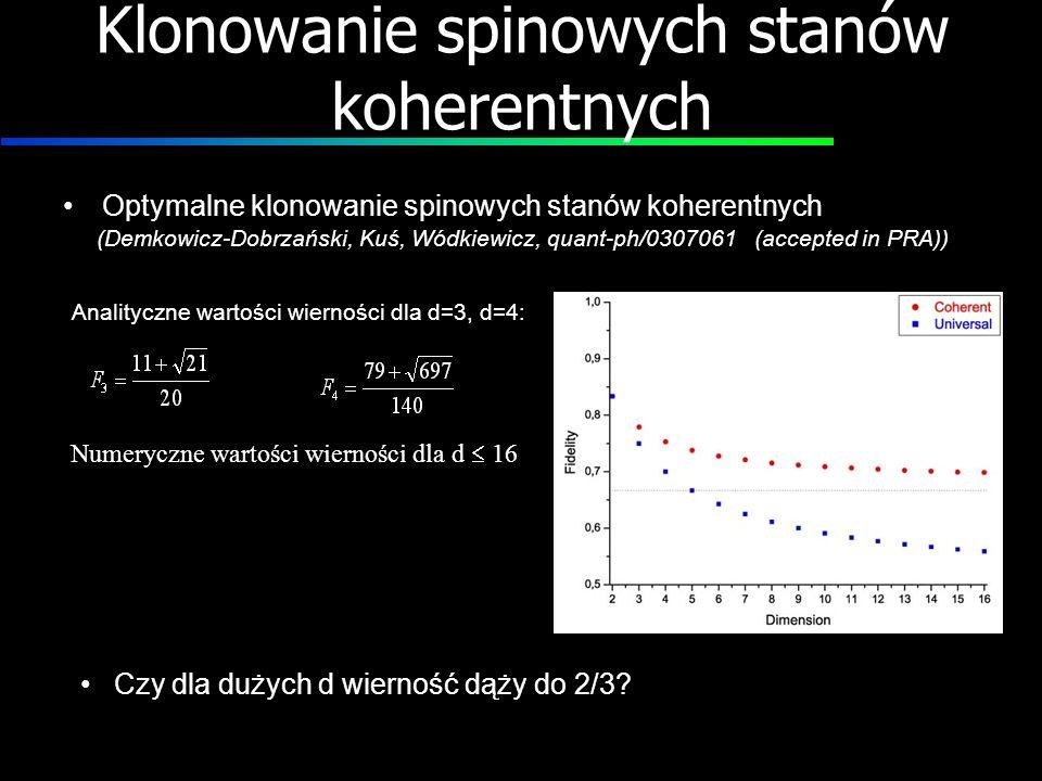 Klonowanie spinowych stanów koherentnych Optymalne klonowanie spinowych stanów koherentnych (Demkowicz-Dobrzański, Kuś, Wódkiewicz, quant-ph/0307061 (