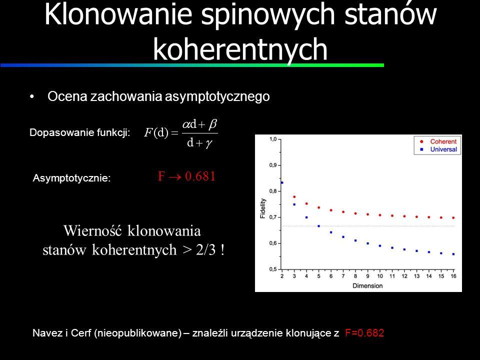 Klonowanie spinowych stanów koherentnych Ocena zachowania asymptotycznego Dopasowanie funkcji: Asymptotycznie: F 0.681 Wierność klonowania stanów kohe