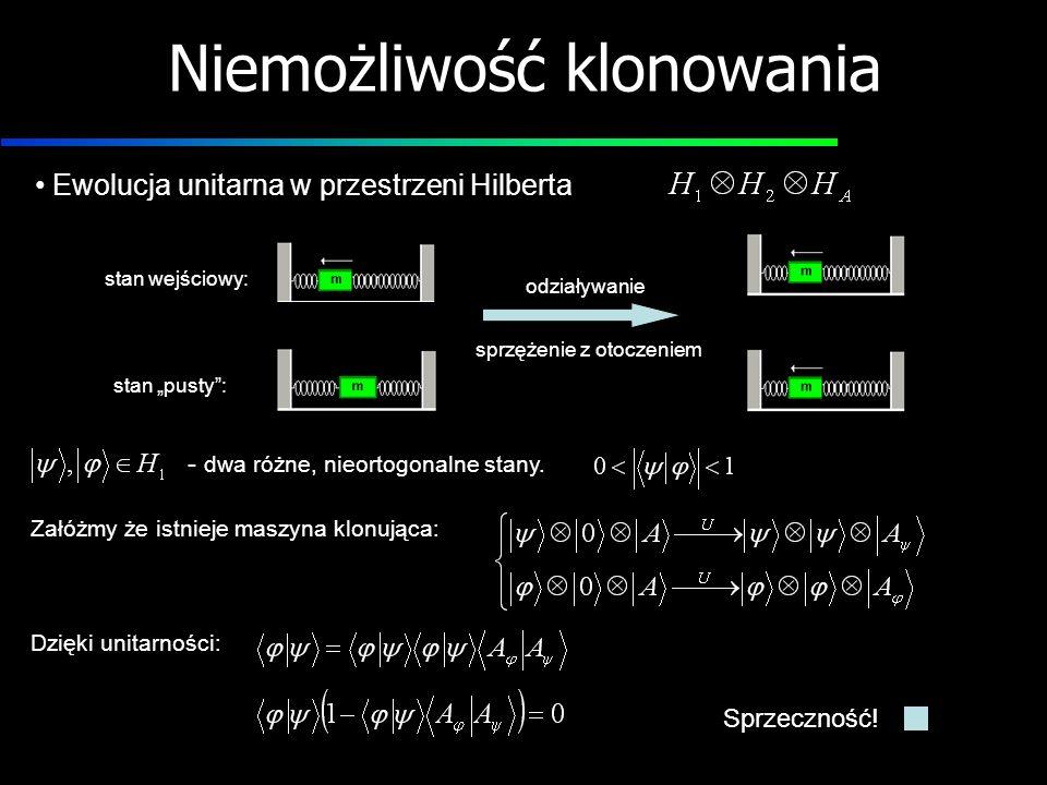 Niemożliwość klonowania - dwa różne, nieortogonalne stany. Załóżmy że istnieje maszyna klonująca: Dzięki unitarności: stan wejściowy: stan pusty: odzi