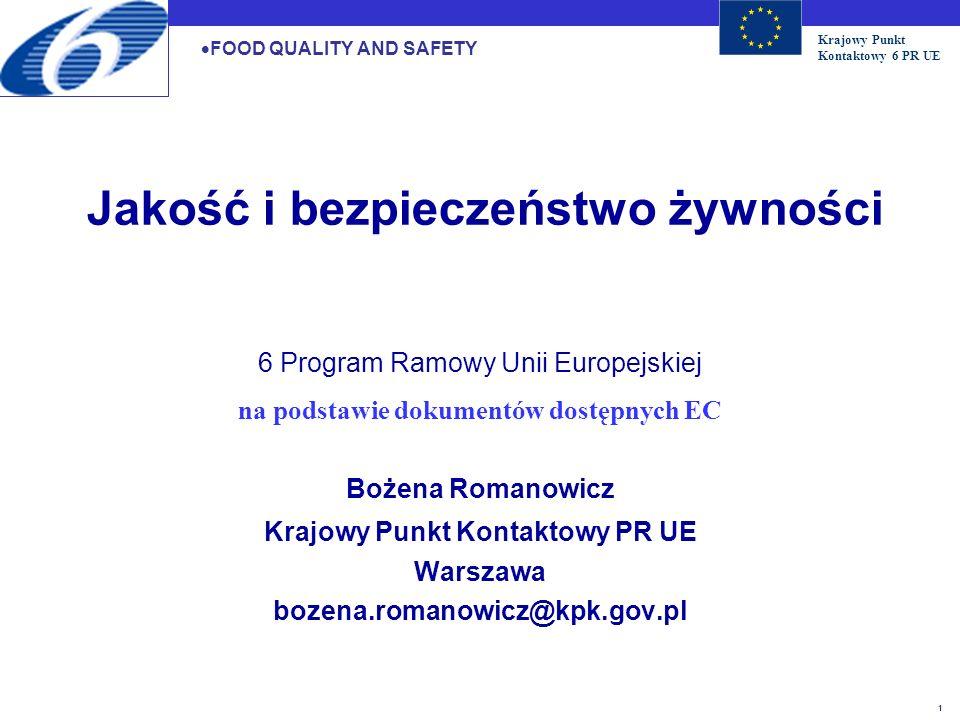 Krajowy Punkt Kontaktowy 6 PR UE 2 5.Jakość i bezpieczeństwo żywności 5.4.1 Całkowity łańcuch żywnościowy 5.4.2 Epidemiologia chorób i alergii wywołanych składnikami pokarmowymi 5.4.3 Wpływ żywności na zdrowie 5.4.4 Śledzenie procesów w łańcuchu produkcyjnym żywności 5.4.5 Metody analizy, detekcji i kontroli półproduktów i produktów żywnościowych 5.4.6 Bezpieczne i przyjazne środowisku metody produkcji i technologii zdrowszej żywności 5.4.7 Wpływ żywienia zwierząt na zdrowie ludzi 5.4.8 Środowiskowe zagrożenia zdrowia FOOD QUALITY AND SAFETY