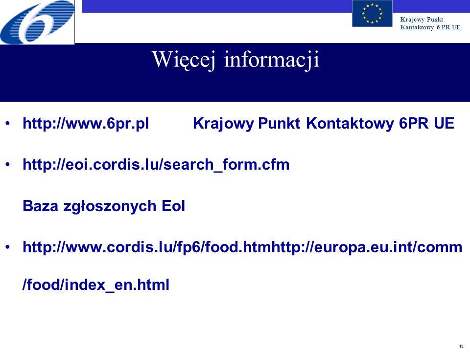 Krajowy Punkt Kontaktowy 6 PR UE 13 Więcej informacji http://www.6pr.plKrajowy Punkt Kontaktowy 6PR UE http://eoi.cordis.lu/search_form.cfm Baza zgłos