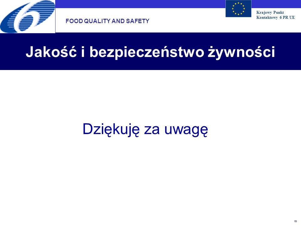 Krajowy Punkt Kontaktowy 6 PR UE 15 Jakość i bezpieczeństwo żywności Dziękuję za uwagę FOOD QUALITY AND SAFETY