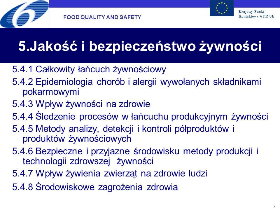 Krajowy Punkt Kontaktowy 6 PR UE 2 5.Jakość i bezpieczeństwo żywności 5.4.1 Całkowity łańcuch żywnościowy 5.4.2 Epidemiologia chorób i alergii wywołan