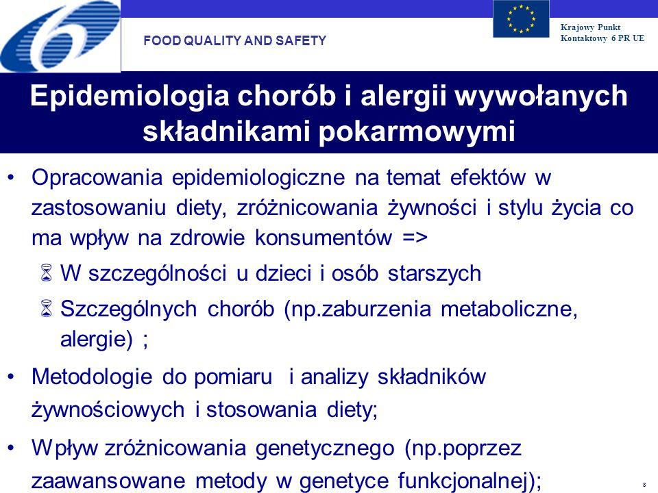 Krajowy Punkt Kontaktowy 6 PR UE 8 Epidemiologia chorób i alergii wywołanych składnikami pokarmowymi Opracowania epidemiologiczne na temat efektów w z