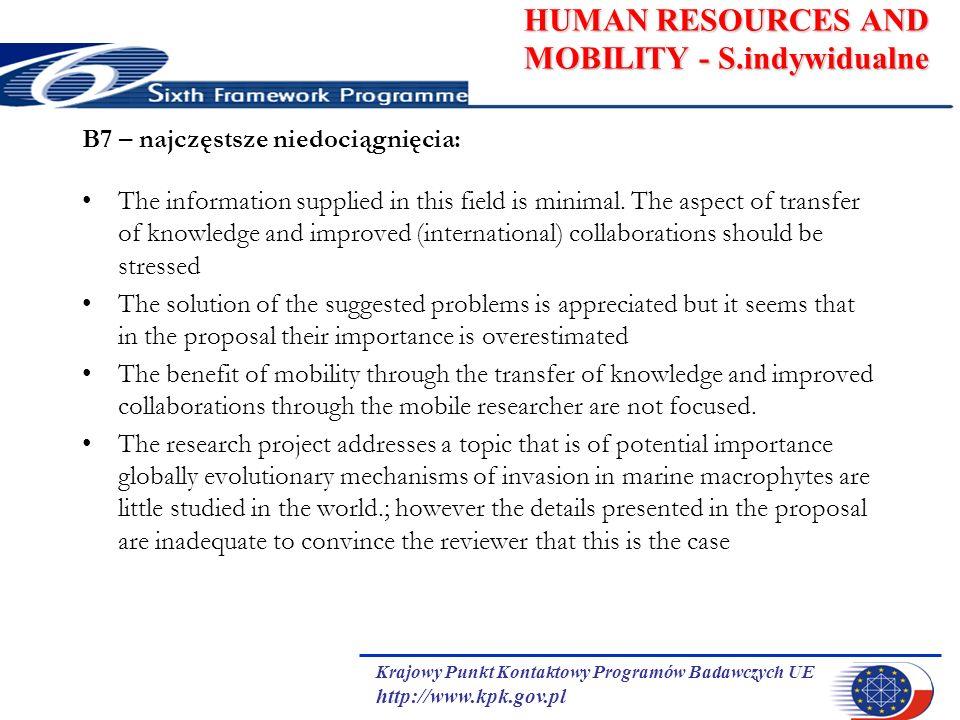 Krajowy Punkt Kontaktowy Programów Badawczych UE http://www.kpk.gov.pl HUMAN RESOURCES AND MOBILITY - S.indywidualne B7 – najczęstsze niedociągnięcia: The information supplied in this field is minimal.