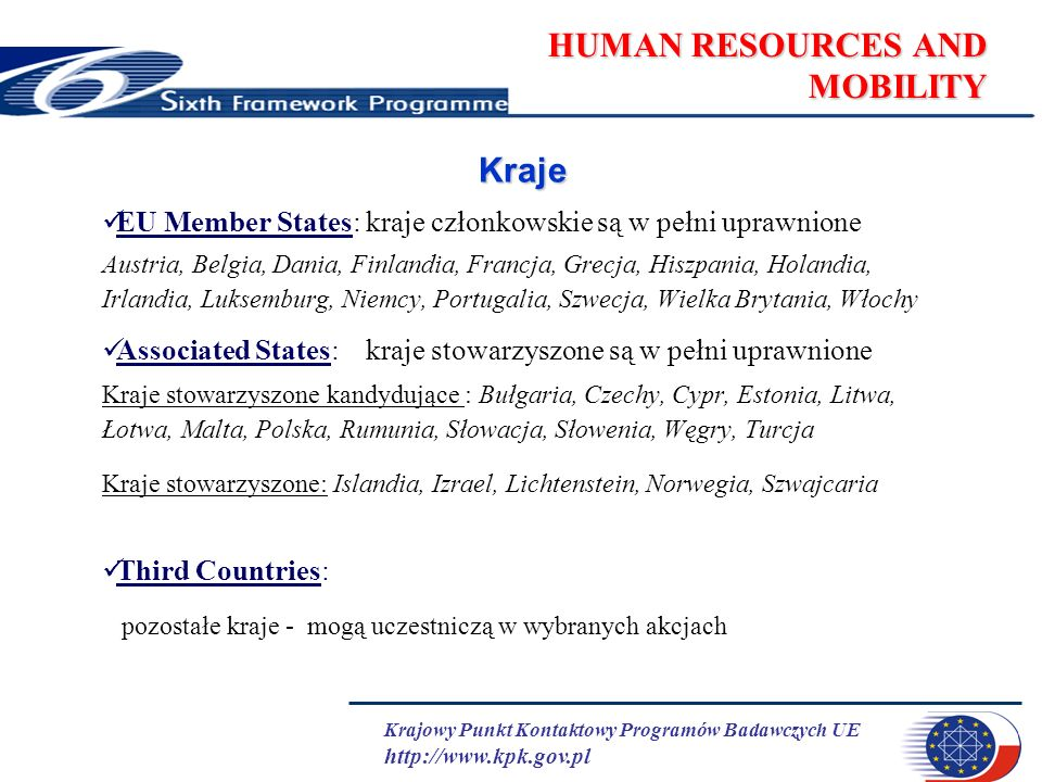 Krajowy Punkt Kontaktowy Programów Badawczych UE http://www.kpk.gov.pl HUMAN RESOURCES AND MOBILITY Research Training Networks19 listopad 2003 Host Fellowships for Early Stage Research Training11 luty 2004 Host Fellowships for Transfer of Knowledge19 maj 2004 Conferences and Training Courses20 kwiecień 2004 Intra-European Fellowships18 luty 2004 Outgoing International Fellowships12 luty 2004 Incoming International Fellowships12 luty 2004 Excellence Grants18 maj 2004 Excellence Awards18 maj 2004 Chairs21 styczeń 2004 European Reintegration Grantwnioski nadsyłane stale oceniane co 3 miesiące International Reintegration Grants