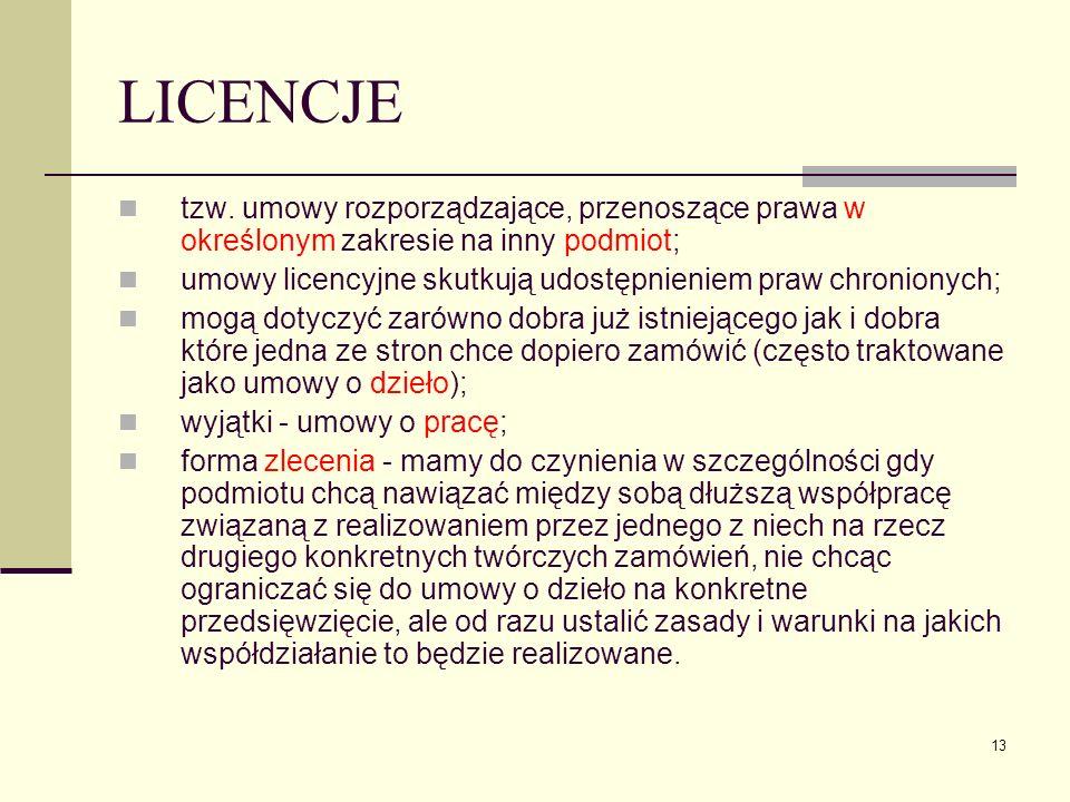 13 LICENCJE tzw. umowy rozporządzające, przenoszące prawa w określonym zakresie na inny podmiot; umowy licencyjne skutkują udostępnieniem praw chronio
