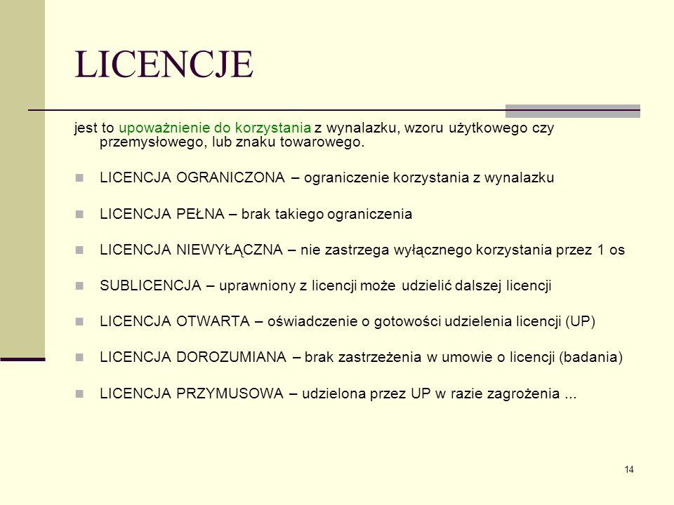14 LICENCJE jest to upoważnienie do korzystania z wynalazku, wzoru użytkowego czy przemysłowego, lub znaku towarowego. LICENCJA OGRANICZONA – ogranicz