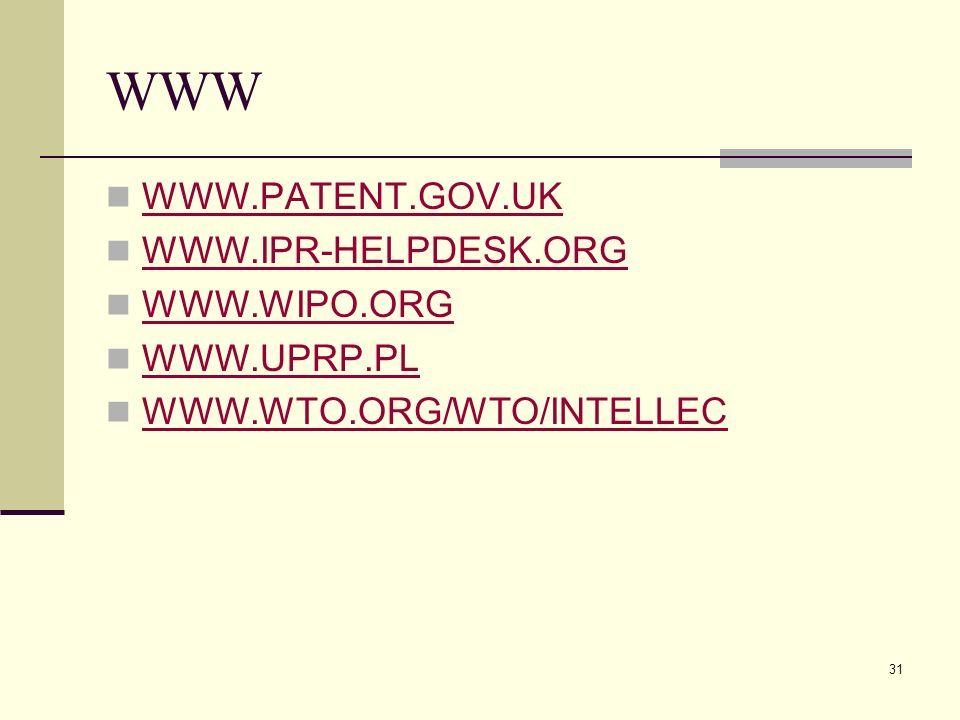 31 WWW WWW.PATENT.GOV.UK WWW.IPR-HELPDESK.ORG WWW.WIPO.ORG WWW.UPRP.PL WWW.WTO.ORG/WTO/INTELLEC