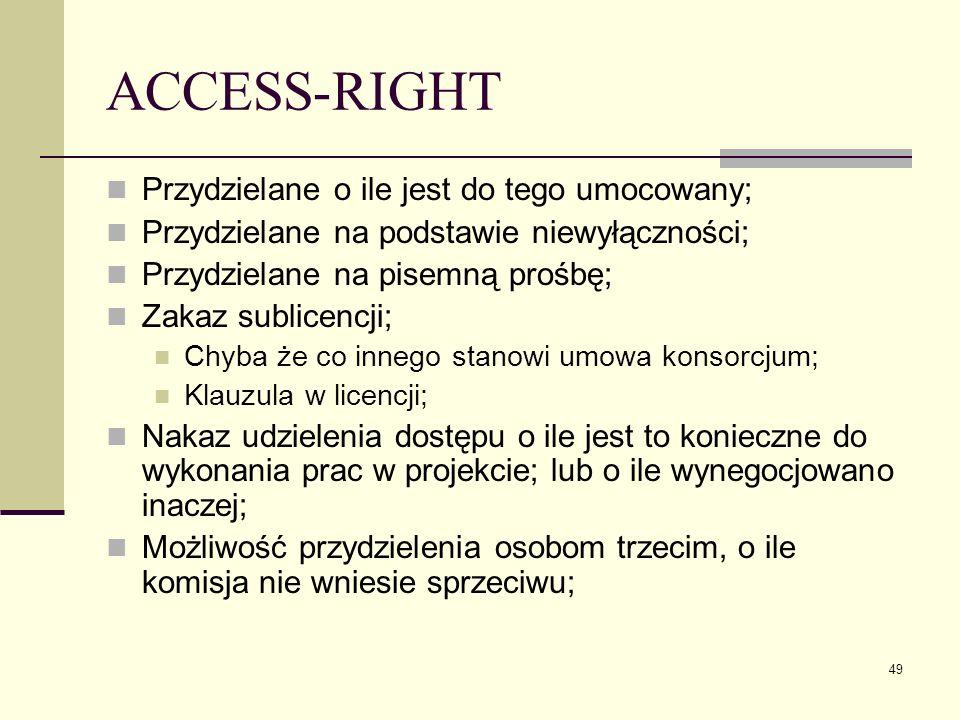 49 ACCESS-RIGHT Przydzielane o ile jest do tego umocowany; Przydzielane na podstawie niewyłączności; Przydzielane na pisemną prośbę; Zakaz sublicencji