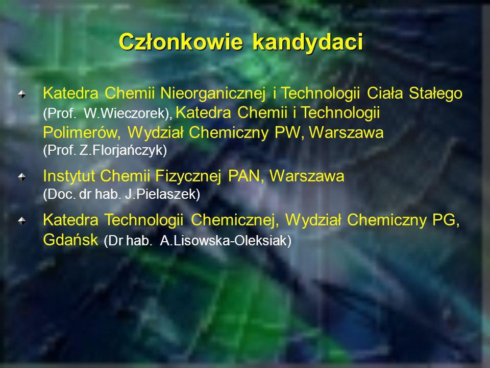Członkowie kandydaci Katedra Chemii Nieorganicznej i Technologii Ciała Stałego (Prof. W.Wieczorek), Katedra Chemii i Technologii Polimerów, Wydział Ch