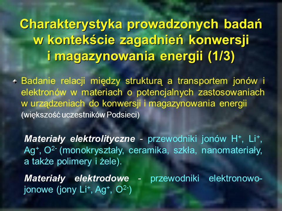 Charakterystyka prowadzonych badań w kontekście zagadnień konwersji i magazynowania energii (2/3) Stałe elektrolity do zastosowań w bateriach litowych (krystaliczne, ceramiczne, polimerowe, szkliste) (Wydział Fizyki PW, Wydział Chemiczny PW, IChF PAN) Materiały elektrodowe do baterii litowych, komórek elektrochromowych i ogniw paliwowych (SOFC) (AGH, Wydział Fizyki PW, Wydział FTiMS PG)