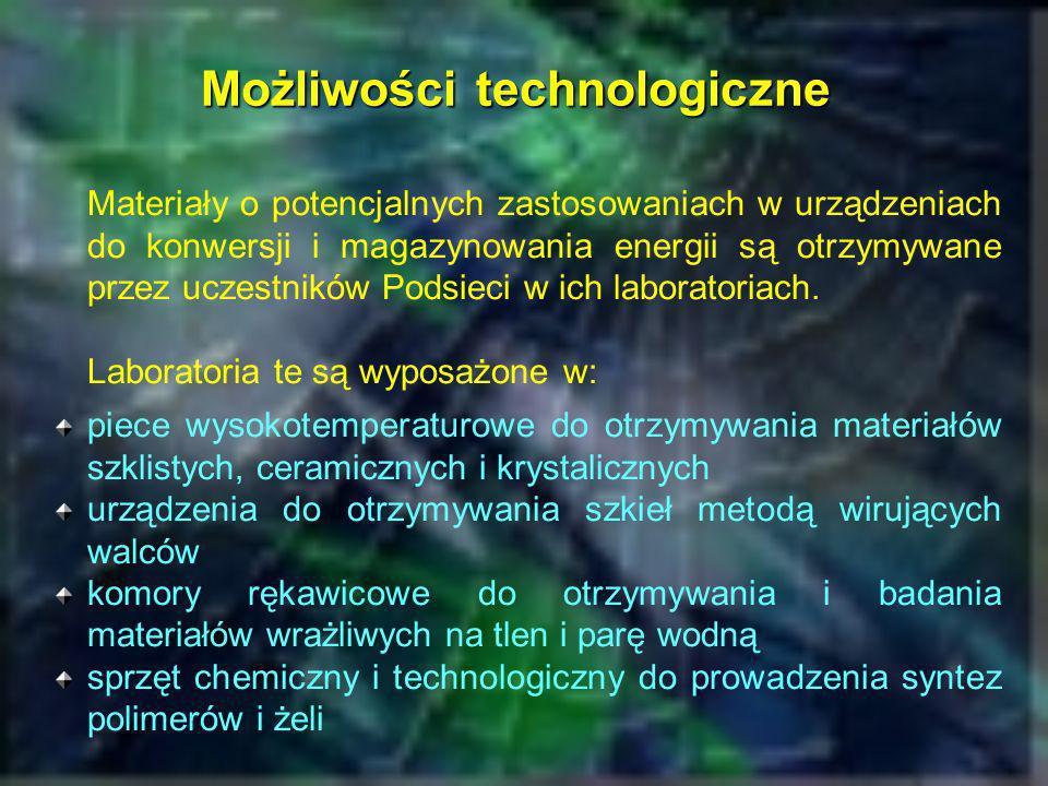 Główne metody badawcze Dyfraktometria rentgenowska (XRD) (INT PAN, IChF PAN, WF PW, WCh PW) Analizy termiczne (DSC/DTA) (PW, AGH, IFM PAN,...) Badanie transportu ładunku elektrycznego metodą spektroskopii impedancyjnej (WF PW, WCh PW, IFM PAN, FTiMS PG, AGH) Badanie siły termoelektrycznej materiałów elektrodowych (AGH) Badanie procesów elektrodowych metodami elektro- chemicznymi (AGH, WCh PG) Badanie relaksacji dielektrycznej (WF PW, IFM PAN) Badania spektroskopowe: Raman, IR, FTIR, EPR (IFM PAN, WF PW, WCh PW)
