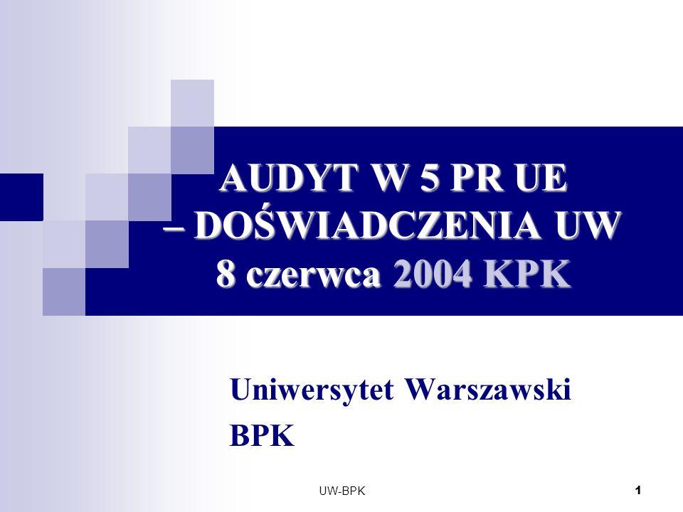 UW-BPK 1 AUDYT W 5 PR UE – DOŚWIADCZENIA UW 8 czerwca 2004 KPK Uniwersytet Warszawski BPK