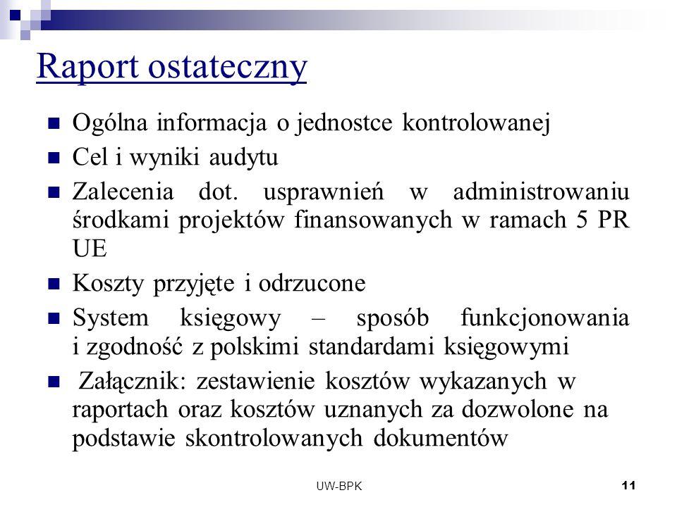 UW-BPK11 Raport ostateczny Ogólna informacja o jednostce kontrolowanej Cel i wyniki audytu Zalecenia dot.