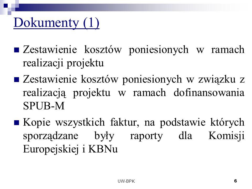 UW-BPK6 Dokumenty (1) Zestawienie kosztów poniesionych w ramach realizacji projektu Zestawienie kosztów poniesionych w związku z realizacją projektu w ramach dofinansowania SPUB-M Kopie wszystkich faktur, na podstawie których sporządzane były raporty dla Komisji Europejskiej i KBNu