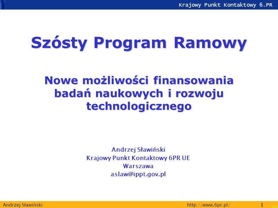 Krajowy Punkt Kontaktowy 6.PR http://www.6pr.pl/ 2 Andrzej Sławiński ERA Europejska Przestrzeń Badawcza Programy Narodowe Program Ramowy Polityka naukowa Europy Organizacje Międzynarodowe