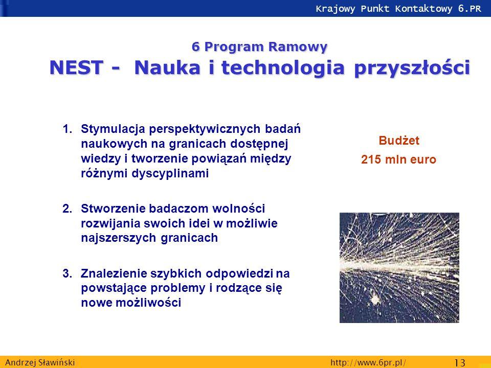 Krajowy Punkt Kontaktowy 6.PR http://www.6pr.pl/ 13 Andrzej Sławiński 1.Stymulacja perspektywicznych badań naukowych na granicach dostępnej wiedzy i tworzenie powiązań między różnymi dyscyplinami 2.Stworzenie badaczom wolności rozwijania swoich idei w możliwie najszerszych granicach 3.Znalezienie szybkich odpowiedzi na powstające problemy i rodzące się nowe możliwości Budżet 215 mln euro 6 Program Ramowy NEST - Nauka i technologia przyszłości