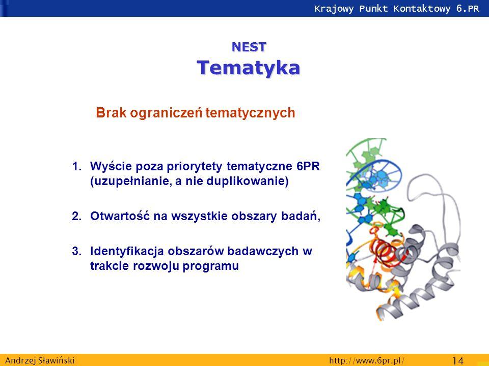 Krajowy Punkt Kontaktowy 6.PR http://www.6pr.pl/ 14 Andrzej Sławiński Brak ograniczeń tematycznych 1.Wyście poza priorytety tematyczne 6PR (uzupełnianie, a nie duplikowanie) 2.Otwartość na wszystkie obszary badań, 3.Identyfikacja obszarów badawczych w trakcie rozwoju programu NESTTematyka