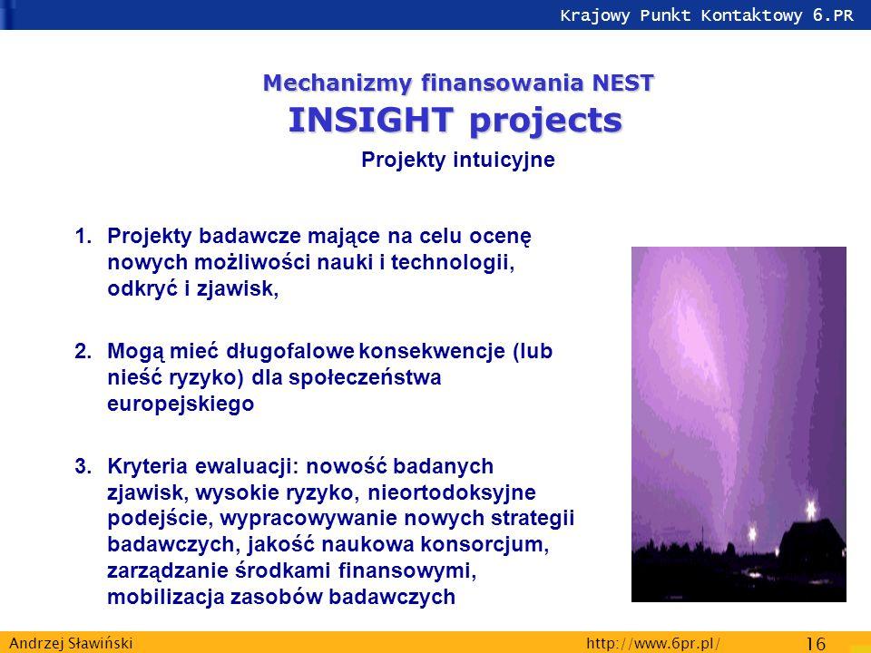 Krajowy Punkt Kontaktowy 6.PR http://www.6pr.pl/ 16 Andrzej Sławiński 1.Projekty badawcze mające na celu ocenę nowych możliwości nauki i technologii, odkryć i zjawisk, 2.Mogą mieć długofalowe konsekwencje (lub nieść ryzyko) dla społeczeństwa europejskiego 3.Kryteria ewaluacji: nowość badanych zjawisk, wysokie ryzyko, nieortodoksyjne podejście, wypracowywanie nowych strategii badawczych, jakość naukowa konsorcjum, zarządzanie środkami finansowymi, mobilizacja zasobów badawczych Mechanizmy finansowania NEST INSIGHT projects Projekty intuicyjne