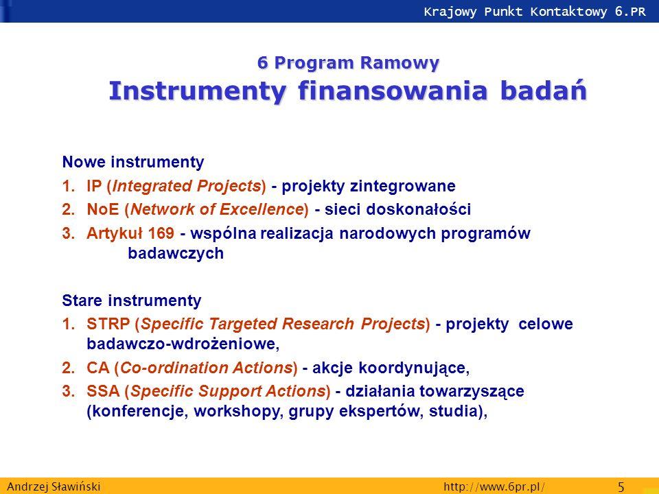 Krajowy Punkt Kontaktowy 6.PR http://www.6pr.pl/ 5 Andrzej Sławiński 6 Program Ramowy Instrumenty finansowania badań Nowe instrumenty 1.IP (Integrated Projects) - projekty zintegrowane 2.NoE (Network of Excellence) - sieci doskonałości 3.Artykuł 169 - wspólna realizacja narodowych programów badawczych Stare instrumenty 1.STRP (Specific Targeted Research Projects) - projekty celowe badawczo-wdrożeniowe, 2.CA (Co-ordination Actions) - akcje koordynujące, 3.SSA (Specific Support Actions) - działania towarzyszące (konferencje, workshopy, grupy ekspertów, studia),
