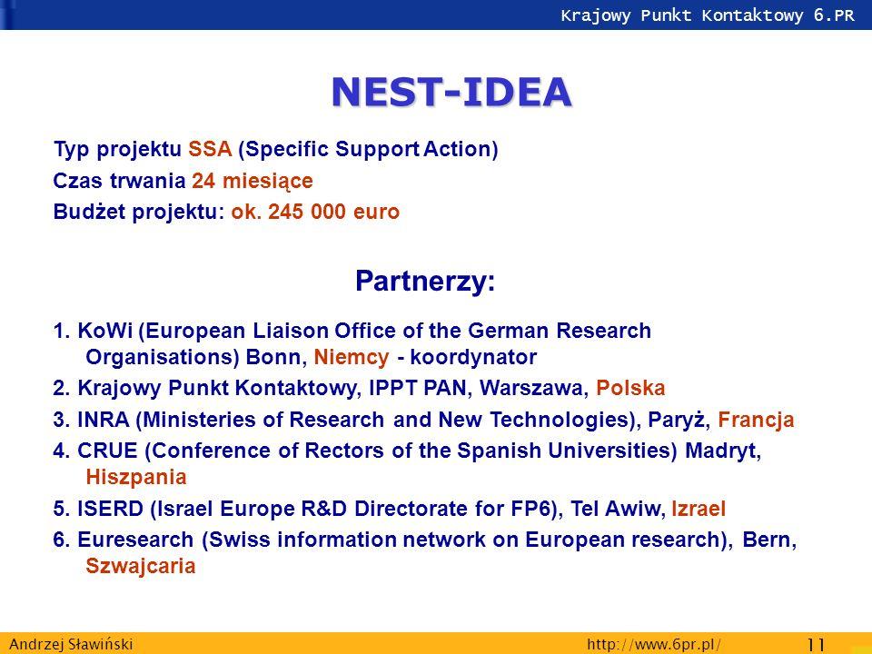 Krajowy Punkt Kontaktowy 6.PR http://www.6pr.pl/ 11 Andrzej Sławiński NEST-IDEA Typ projektu SSA (Specific Support Action) Czas trwania 24 miesiące Budżet projektu: ok.