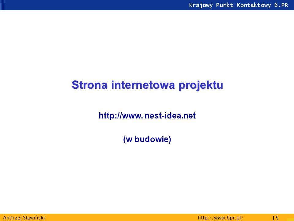 Krajowy Punkt Kontaktowy 6.PR http://www.6pr.pl/ 15 Andrzej Sławiński Strona internetowa projektu http://www.