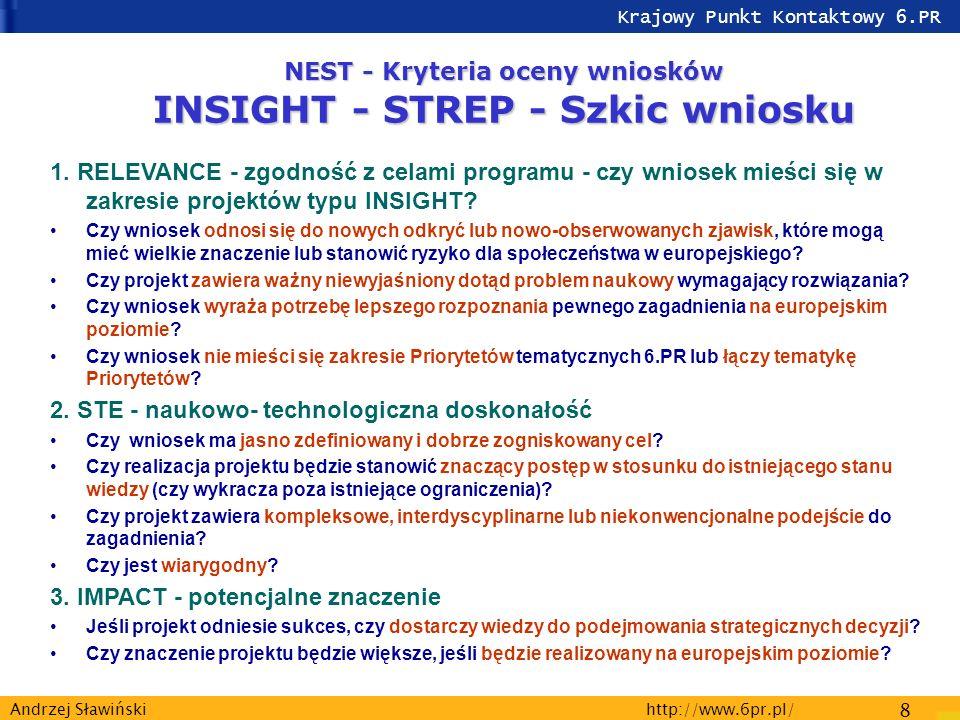 Krajowy Punkt Kontaktowy 6.PR http://www.6pr.pl/ 8 Andrzej Sławiński NEST - Kryteria oceny wniosków INSIGHT - STREP - Szkic wniosku 1.