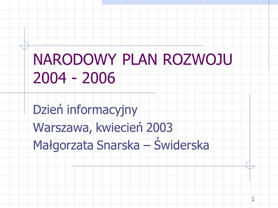 1 NARODOWY PLAN ROZWOJU 2004 - 2006 Dzień informacyjny Warszawa, kwiecień 2003 Małgorzata Snarska – Świderska