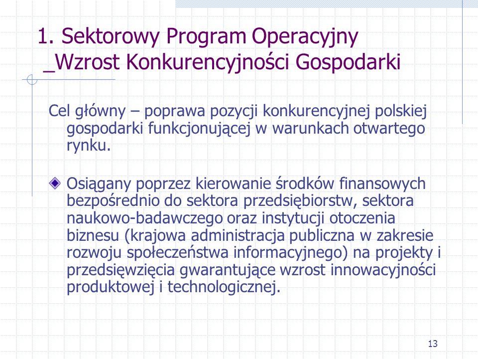 13 1. Sektorowy Program Operacyjny _Wzrost Konkurencyjności Gospodarki Cel główny – poprawa pozycji konkurencyjnej polskiej gospodarki funkcjonującej
