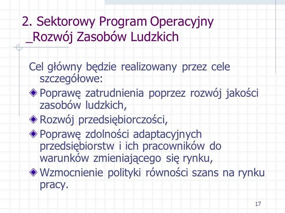 17 2. Sektorowy Program Operacyjny _Rozwój Zasobów Ludzkich Cel główny będzie realizowany przez cele szczegółowe: Poprawę zatrudnienia poprzez rozwój