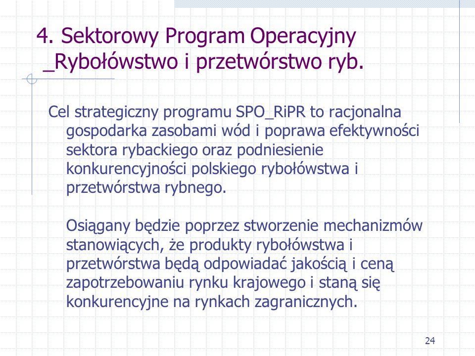 24 4. Sektorowy Program Operacyjny _Rybołówstwo i przetwórstwo ryb. Cel strategiczny programu SPO_RiPR to racjonalna gospodarka zasobami wód i poprawa