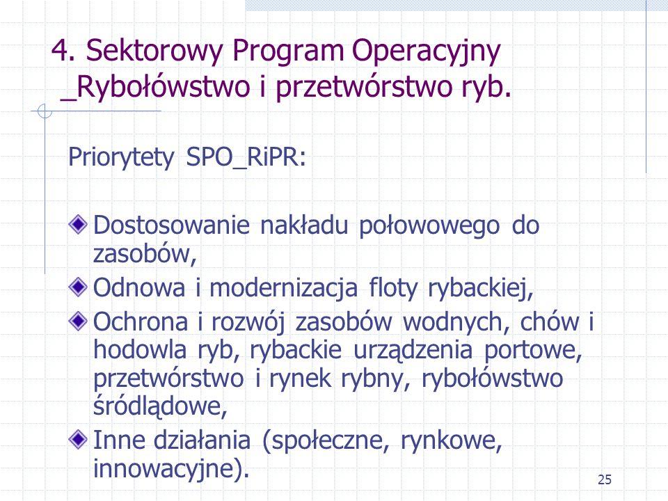 25 4. Sektorowy Program Operacyjny _Rybołówstwo i przetwórstwo ryb. Priorytety SPO_RiPR: Dostosowanie nakładu połowowego do zasobów, Odnowa i moderniz