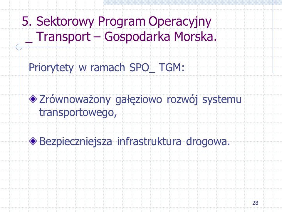 28 5. Sektorowy Program Operacyjny _ Transport – Gospodarka Morska. Priorytety w ramach SPO_ TGM: Zrównoważony gałęziowo rozwój systemu transportowego