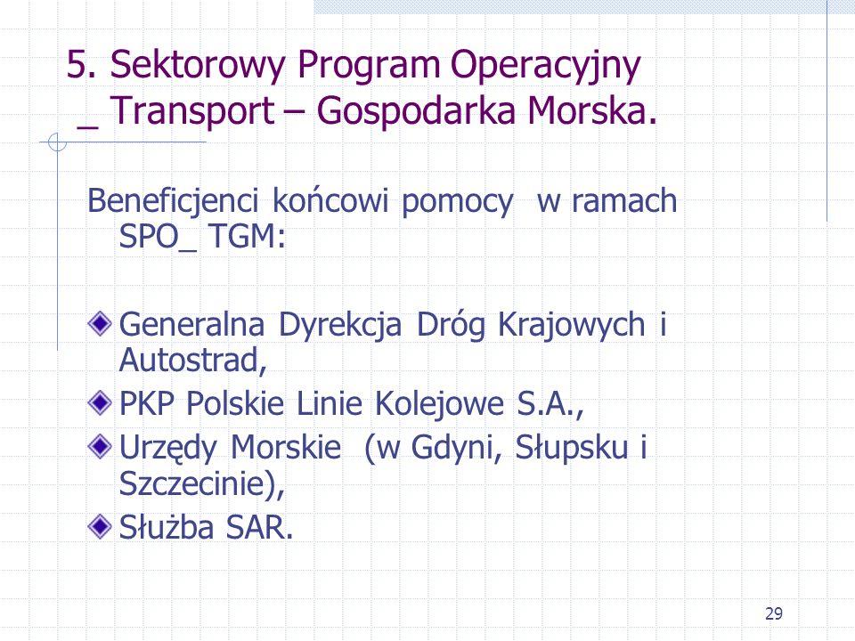 29 5. Sektorowy Program Operacyjny _ Transport – Gospodarka Morska. Beneficjenci końcowi pomocy w ramach SPO_ TGM: Generalna Dyrekcja Dróg Krajowych i