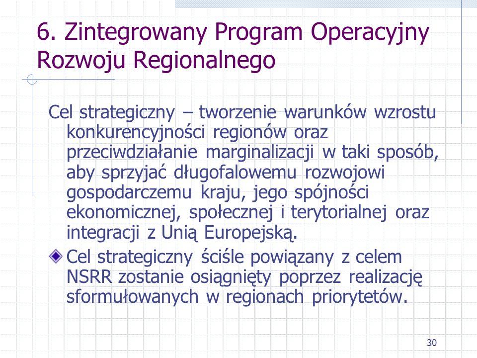 30 6. Zintegrowany Program Operacyjny Rozwoju Regionalnego Cel strategiczny – tworzenie warunków wzrostu konkurencyjności regionów oraz przeciwdziałan