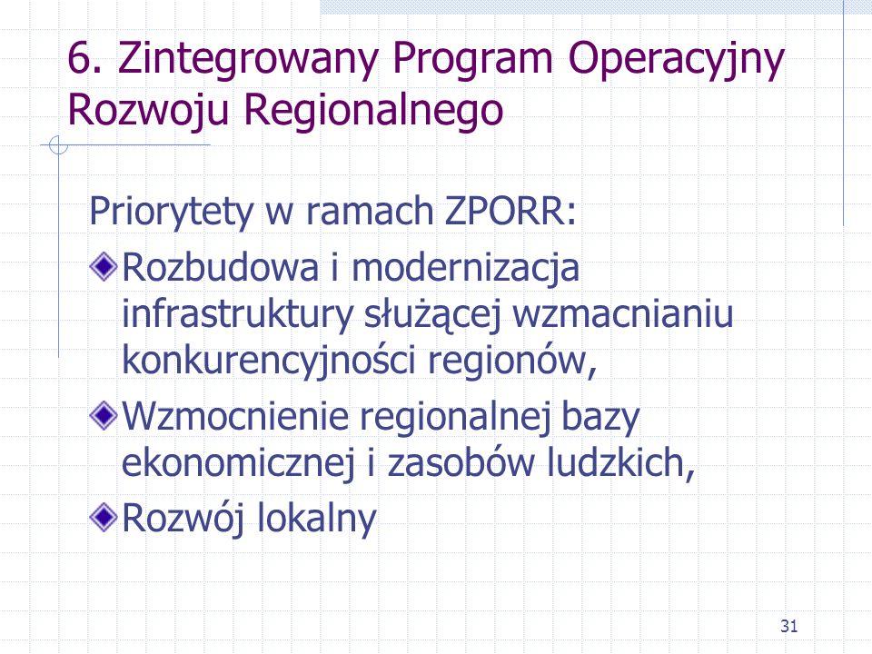 31 6. Zintegrowany Program Operacyjny Rozwoju Regionalnego Priorytety w ramach ZPORR: Rozbudowa i modernizacja infrastruktury służącej wzmacnianiu kon