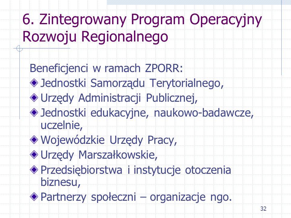 32 6. Zintegrowany Program Operacyjny Rozwoju Regionalnego Beneficjenci w ramach ZPORR: Jednostki Samorządu Terytorialnego, Urzędy Administracji Publi
