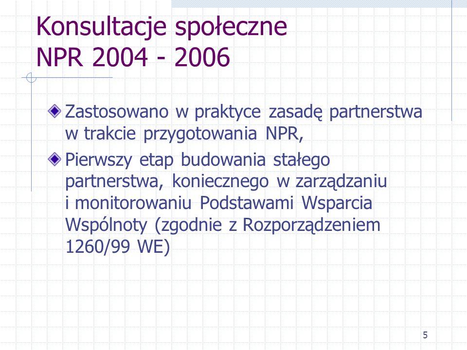 5 Konsultacje społeczne NPR 2004 - 2006 Zastosowano w praktyce zasadę partnerstwa w trakcie przygotowania NPR, Pierwszy etap budowania stałego partnerstwa, koniecznego w zarządzaniu i monitorowaniu Podstawami Wsparcia Wspólnoty (zgodnie z Rozporządzeniem 1260/99 WE)