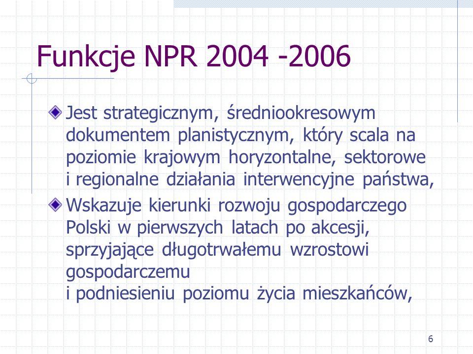 6 Funkcje NPR 2004 -2006 Jest strategicznym, średniookresowym dokumentem planistycznym, który scala na poziomie krajowym horyzontalne, sektorowe i regionalne działania interwencyjne państwa, Wskazuje kierunki rozwoju gospodarczego Polski w pierwszych latach po akcesji, sprzyjające długotrwałemu wzrostowi gospodarczemu i podniesieniu poziomu życia mieszkańców,