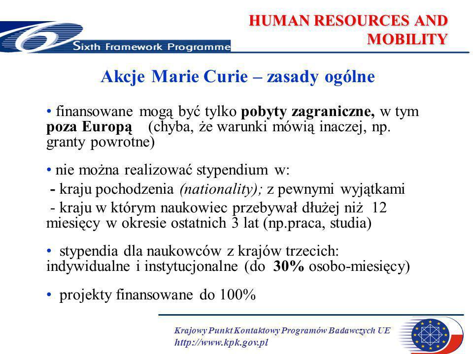 Krajowy Punkt Kontaktowy Programów Badawczych UE http://www.kpk.gov.pl HUMAN RESOURCES AND MOBILITY MC Return and Reintegration Mechanisms European Reintegration Grants jednoroczny grant na prowadzenie prac badawczych dla naukowców z krajów członkowskich lub stowarzyszonych w kraju macierzystym lub europejskim po przynajmniej 2-letnim stypendium w ramach programów ramowych nie jest finansowane wynagrodzenie naukowca, inne koszty tak International Reintegration Grants 2-letni grant na prowadzenie badań w Europie dla naukowców europejskich po przynajmniej 5-letnim pobycie poza Europą nie jest finansowane wynagrodzenie naukowca, inne koszty tak