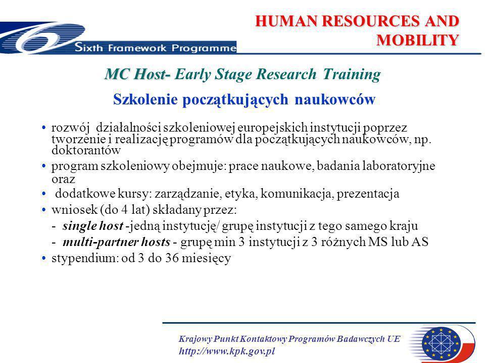 Krajowy Punkt Kontaktowy Programów Badawczych UE http://www.kpk.gov.pl HUMAN RESOURCES AND MOBILITY MC Host- MC Host- Early Stage Research Training Szkolenie początkujących naukowców rozwój działalności szkoleniowej europejskich instytucji poprzez tworzenie i realizację programów dla początkujących naukowców, np.