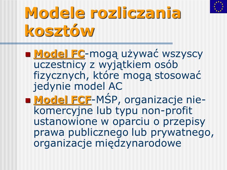 Modele rozliczania kosztów Model FC Model FC-mogą używać wszyscy uczestnicy z wyjątkiem osób fizycznych, które mogą stosować jedynie model AC Model FCF Model FCF-MŚP, organizacje nie- komercyjne lub typu non-profit ustanowione w oparciu o przepisy prawa publicznego lub prywatnego, organizacje międzynarodowe
