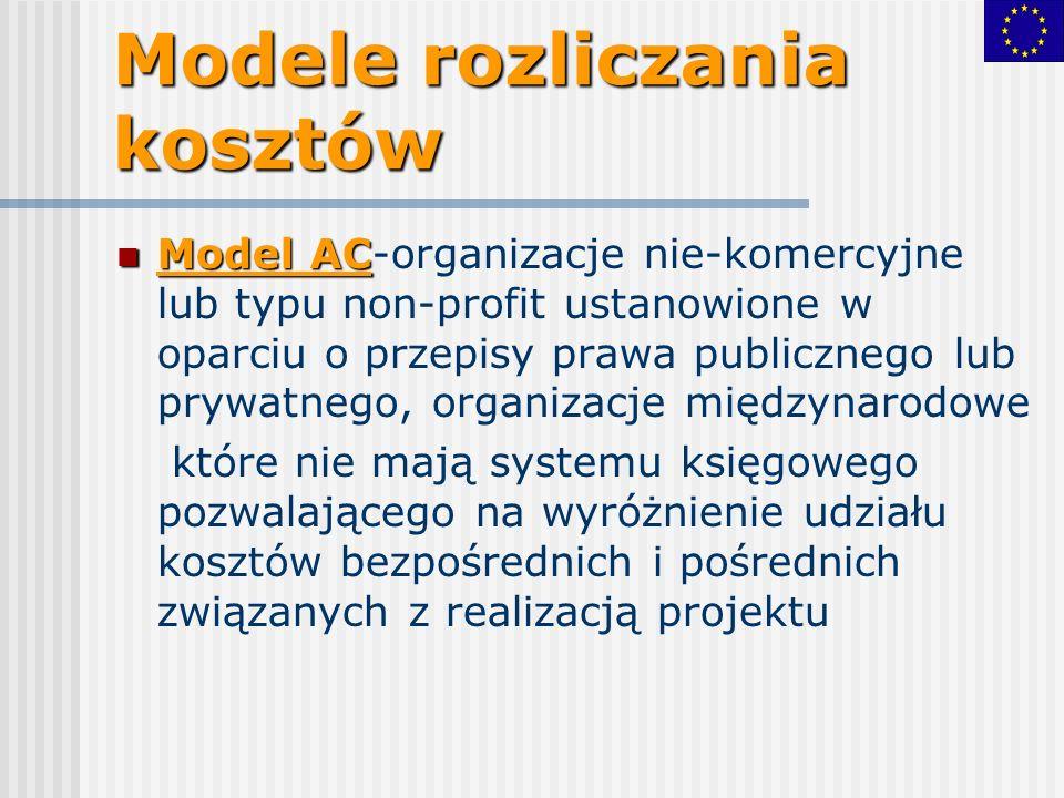 Model AC Model AC-organizacje nie-komercyjne lub typu non-profit ustanowione w oparciu o przepisy prawa publicznego lub prywatnego, organizacje międzynarodowe które nie mają systemu księgowego pozwalającego na wyróżnienie udziału kosztów bezpośrednich i pośrednich związanych z realizacją projektu Modele rozliczania kosztów